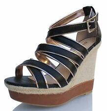 Leatherette Strappy Striped Woven Espadrille Platform Wedge Sandal Stat