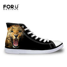 Animal Leopard Men 's Casual Canvas Sport Flat Sneakers Shoes Trainers Athletic