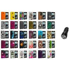 For LG Optimus F6 Hard Design Snap-On Rubberized Skin Case Cover 2.1A Charger