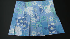 LADIES BLUE & WHITE FLORAL SUMMER COTTON PLEATED SHORT MINI SKIRT SIZE 8 to 14