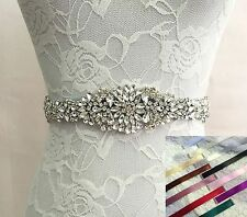 Bridal Wedding Rhinestone Crystal Dress Gown Ribbon Satin Sash Dress Belt