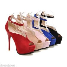 Women's High Heel Peep Toe Ankle Strap Shoes Platform Pumps Sandals AU Size S016