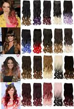 CELEBRITY ONE PIECE OMBRE DIP DYE CURLY HAIR EXTENSION CLIP IN WEFT HAIRPIECE