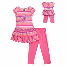 """Dollie & Me Girl 4-12 and 18"""" Doll Matching Striped Tunic Outfit American Girl"""