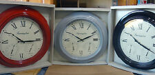 46cm Weather Station Wall Clock Red Black Grey Temperature Humidity