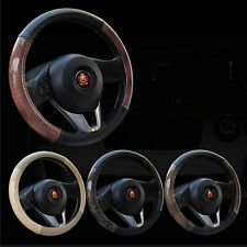 Odorless Synthetic Leather Grain Car Steering Wheel Cover Hand Grip 38cm 15""