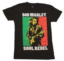 Bob Marley Soul Rebel Rasta Jamaica Colors Men's Black Cotton T-Shirt