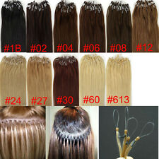 "AAAA+100s 18""0.8g Remy Human Hair Extensions Easy Loop Micro Rings Beads Tipped"
