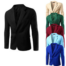 Fashion Stylish Mens Casual Formal One Button Suit Blazer Coat Jacket Slim Tops