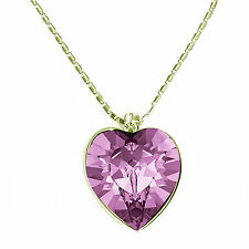 Large Heart Gold-Plated Pendant  Necklace, Made with SWAROVSKI® Crystals.