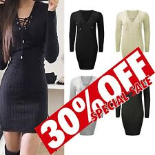 Sexy Women V Neck Tie Lace Up Bodycon Ladies Cocktail Party Knitted Ribbed Dress