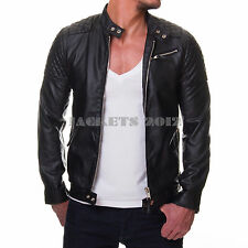 Mens Black Leather Jacket Genuine Leather OR Faux cross stitch Biker Style50