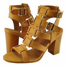 Women's Shoes Qupid Lucite 32A Caged Strappy Block Heel Sandal Camel *New