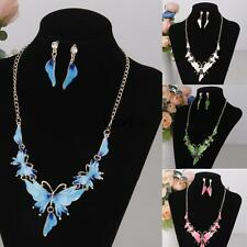 Wedding Party Prom Jewelry Set Butterfly Statement Collar Necklace Earring Set