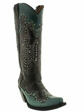 Womens Studded 13'' Black Turquoise Leather Western Cowgirl Cowboy Boots Snip