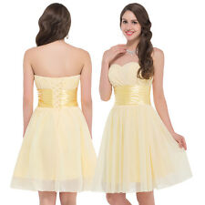 Chiffon Yellow Short Grad Prom Dress Summer Party Evening Bridesmaid Homecoming