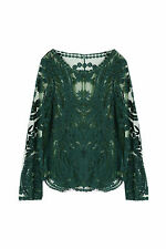 Semi Sheer Sleeve Embroidery Floral Lace Crochet Tops Vintage WD