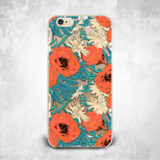 Floral Colorful Poppy Bloom TPU Silicone Rubber Clear Case Cover Skin for iPhone