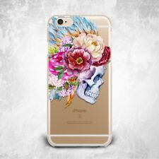 Skull Flower Floral Custom TPU Silicone Rubber Clear Case Cover Skin for iPhone