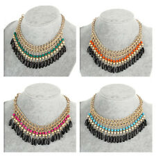 Fashion Jewelry Crystal Chunky Statement Bib Pendant Chain Choker Necklace 1MK