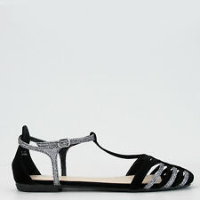 Women's Black and Pewter Gold Closed Toe Sandal Bamboo Shoes Lynda-09