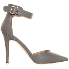 Women's Grey Pointy Toe Stiletto Heel Breckelle's Shoes Isabel-31