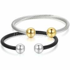 Adjustable Stainless Steel Open End Twisted Cable Wire Bangle Unisex Bracelet