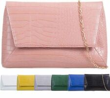 NEW WOMENS FAUX LEATHER CROC SNAKE SKIN CLUTCH BAG SHOULDER CHAIN EVENING BAG