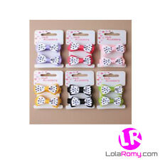 2 Girls Hair Elastics With Polka Dot Bows In A Variety Of Colours *Brand New*