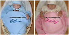 Personalised Baby Blanket Embroidered Name Newborn Christening Gift Boy/Girl