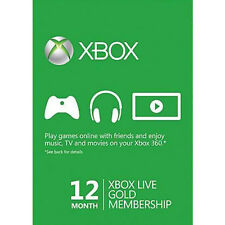 12 Month Xbox One Xbox 360 Live Gold Subscription Membership Microsoft
