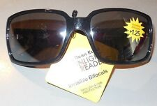 Dr. Dean Edell Sunglasses Sunlight Readers Bifocal Black Square +1.25 w Defects