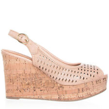 Womens Natural Peep-Toe Slingback Cork Wedge City Classified Rickie-S