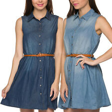 Women Sleeveless Casual Button Down Belted Mini Denim Chambray Tunic Shirt Dress