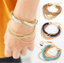 Luxurious Rope Chain Bracelet Multilayer Metal Weaving Braided Jewelry