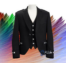 Men Black Scottish Argyle Kilt Jacket with Waistcoat Handmade Custom Sizes