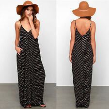 Women Sexy Summer Casual Spaghetti Strap V-neck Maxi Long Dress Beach Sundress