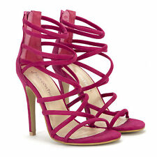 Womens Ladies Fuchsia Pink Suede Strappy Shoes Party High Stilettos Heels ED21