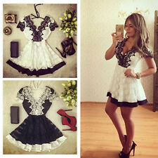 Women Sexy Deep V Lace Patchwork Backless Mini Short Dress Summer Party Sundress