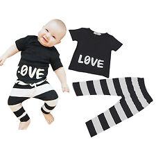 Cute Baby Kids Boys 2pcs Outfits Set Summer Casual T-shirt Tops   Striped Pants