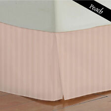 800TC Split Corner Bed Skirt Peach Striped 100% Egyptian Cotton All Size & Deep*