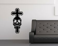 wall decal XXL Skull Iron Cross Skulls Skull Door Sticker 5O150