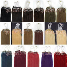 "18""Easy Loop Micro Rings Beads Remy Human Hair Extensions Staight 100s 0.5g"