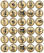30-90 PRE-CUT EDIBLE WAFER CUP CAKE TOPPERS VINTAGE ALICE IN WONDERLAND