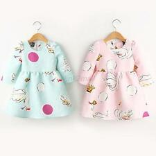 2-7Y Kids Girls Princess Tutu Skirt Dress Swan Print LongSleeve One-Piece Dress