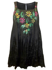 BRAND NEW EVANS BLACK ROSE HAND PAINTED CRINKLE RUFFLE HEM TUNIC SIZE 22-28
