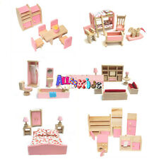 Brand NEW Wooden Doll House Dollhouse Furniture Miniature 6 Rooms Set & 4 Person