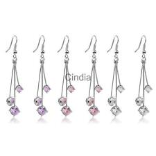 Elegant Fashion Crystal Rhinestone Dangle Ear Stud Earrings Jewelry Gift