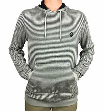 RVCA. Mens Pull Over Hoodie With Pockets. Grey / Black Stripe Size Medium, Large