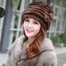 100% Real Genuine Women Knitted Mink Fur Hat Cap Winter Warm Luxury Lady SD110